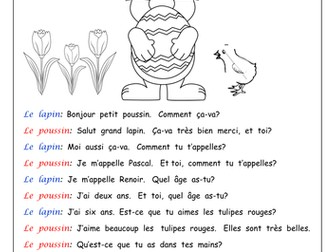 FRENCH - Easter dialogue - Worksheets