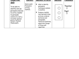 Leaflet writing success criteria