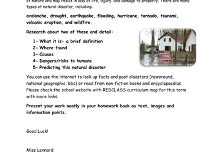 natural disasters homework help