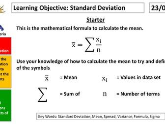 GCSE Statistics Standard Deviation