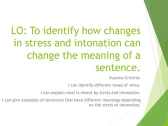 Stress and intonation in spoken language - for linguistics and / or students with SEN
