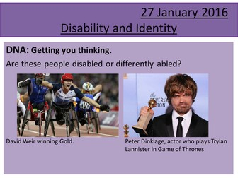 Sociology H580 / H180 Lesson 19 Disability and Identity; 6 mark Model Q1 Questions; Identity Re-cap