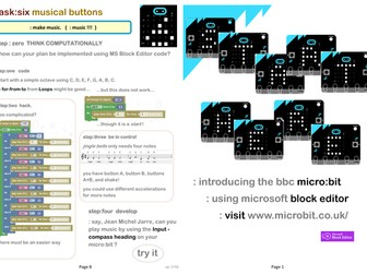 BBC micro:bit.  Introductory workbook for Block Editor. Useful with real or virtual micro:bit