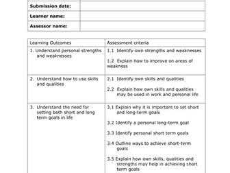 BTEC Vocational Studies Level 1 Unit 10 Self Assessment Workbook