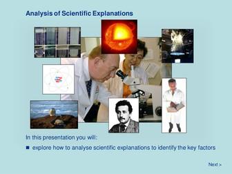 Scientific Methodology - Analysis of Scientific Explanations