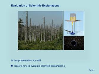Scientific Methodology - Evaluation of Scientific Explanations