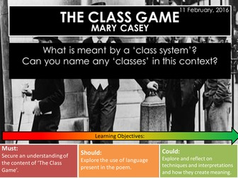 The Class Game - Mary Casey (Edexcel Conflict Poetry Cluster GCSE 1-9)