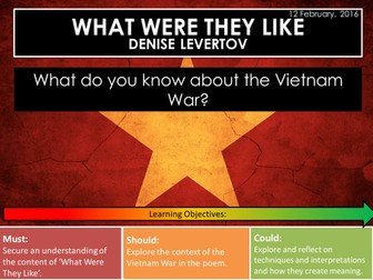 What Were They Like - Denise Levertov (Edexcel Conflict Poetry Cluster GCSE 1-9)