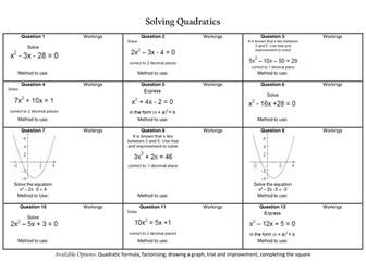 Solving Quadratic Equations Revision