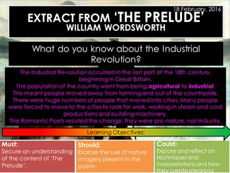 Extract from The Prelude - William Wordsworth (Edexcel Conflict Poetry Cluster GCSE 9-1)