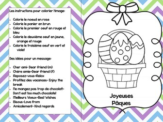 Easter Card to colour French Paques