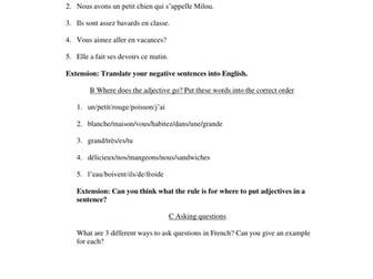 Basic Sentence Structure Practice