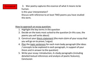 war poetry essay scaffold by missp teaching resources tes