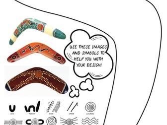 Aboriginal Art Boomerang Design Sheet