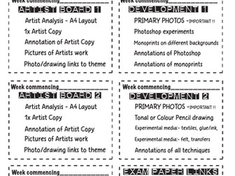 Art Exam project planning sheets