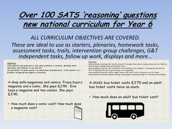 over 100 SATS 'REASONING' questions based on ALL year 6 maths objectives