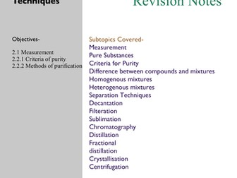 IGCSE_Chemistry_Separation techniques_Mixtures _Criteria for purity_apparatus for measuring