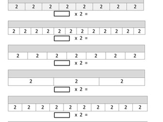 Bar Modelling multiplication (Set 2) 2x, 3x,4x, 5x, 6x, 7x, 8x, 9x, 10x, 11x, 12x
