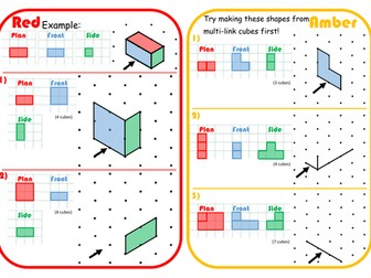 Plans, Elevations & Isometric Drawing Scaffolded Differentiated RAGE Sheet