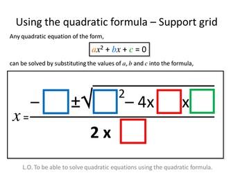 Quadratic Formula Differentiated Worksheets