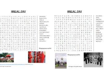 ANZAC DAY - wordsearch