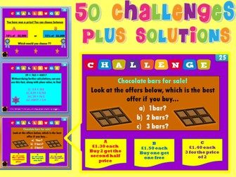 50 Maths challenges with solutions- Problem Solving, Starters, Puzzles, Investigation.