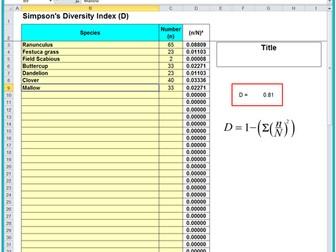 4.2.1 Species Diversity Index OCR (A) Spreadsheet & Help Document