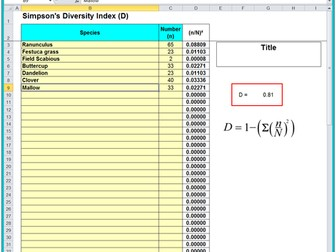 4.2.1 Species Diversity Index OCR (A) Spreadsheet & Help Document