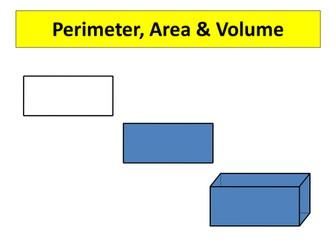 Area, Surface Area & Volume