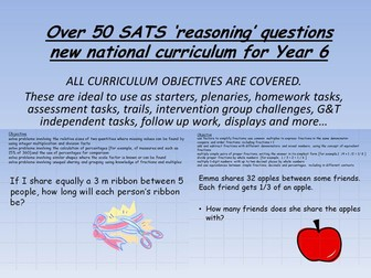 over 50 SATS revision 'reasoning' maths problems new curriculum