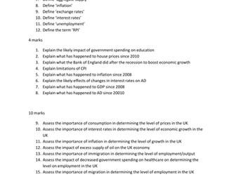 UPDATED Macroeconomics Exam Questions: A Level Economics