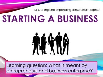 Starting and expanding a business enterprise