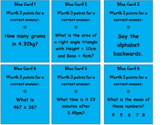 Y6 SATs revision - Reasoning board game