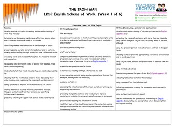 The Iron Man LKS2 Scheme of Work - WEEK 1: POETRY