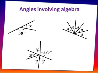 Fairground angles - calculating around a point, on a straight line, involving algebra