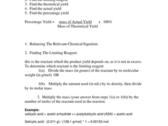 Theoretical And Percent Yield Worksheet - The Best and Most ...