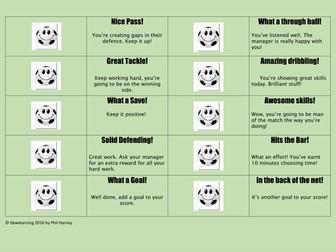 Football Motivation and Positive Behaviour Reward System
