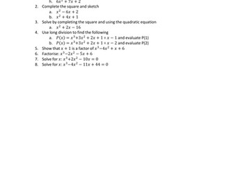 Quadratic and cubic mixed revision questions
