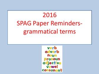 KS2/Key Stage 2 Spag Test- Grammatical Term Reminders