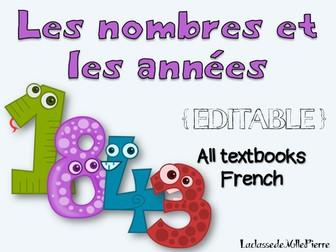 Les NOMBRES et les ANNÉES - FRENCH {EDITABLE} - all textbooks