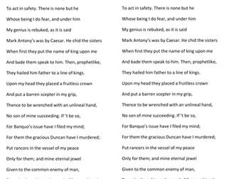 Macbeth (Act 3, Scene 1) Banquo and Macbeth soliloquy lesson KS4 year 10