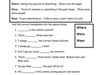 Homophones worksheet - Where, were, wear and are and our - Literacy