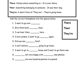 Homophones - There, Their, They're - Are and Our - Literacy