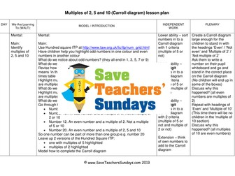 Carroll Diagrams KS1 Worksheets and Lesson Plan