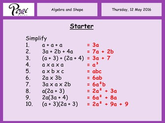 Algebra and shape (area and perimeter)
