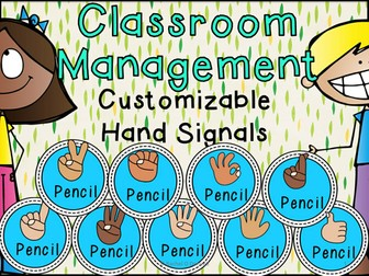 Classroom Management Hand Signals Customisable