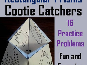 Volume of Rectangular Prisms Cootie Catchers