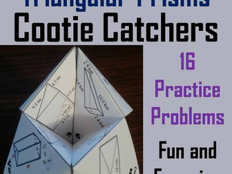 Volume of Triangular Prisms Cootie Catchers