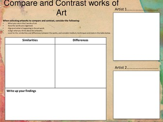 Art and Design: Compare and Contrast Artwork