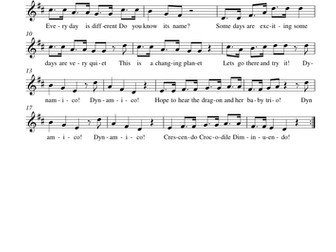 Summer 2 year 3 sheet music/ song pack (mp3): Dynamico! (Unit 6)
